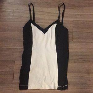 Lululemon black and white color block yoga tank